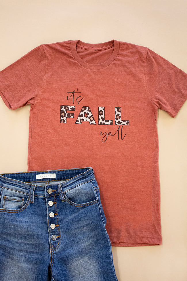 It's Fall Y'all Animal Print Rust Graphic Tee