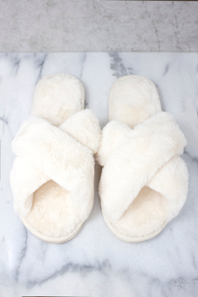 Dreaming Of Winter Cream Fuzzy Slippers FINAL SALE