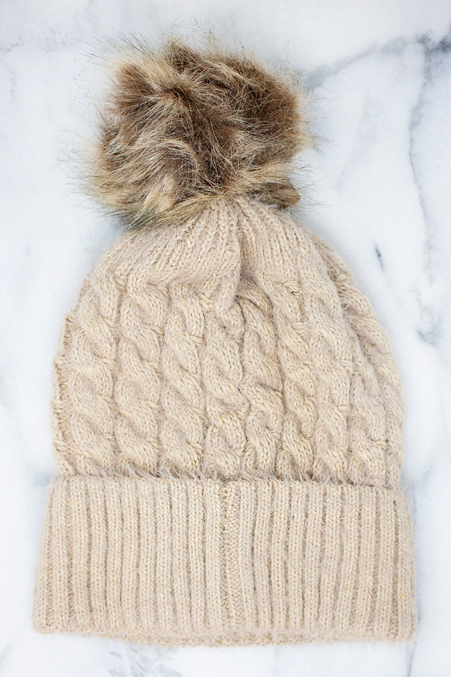This Is Your Day Beige Pom Beanie FINAL SALE
