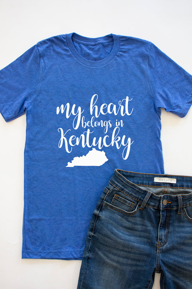My Heart Belongs In Kentucky Heather Royal Graphic Tee