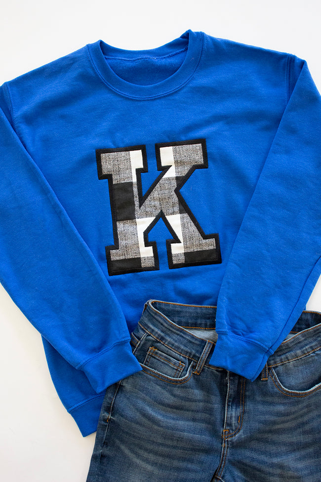 K Applique Royal Blue Sweatshirt