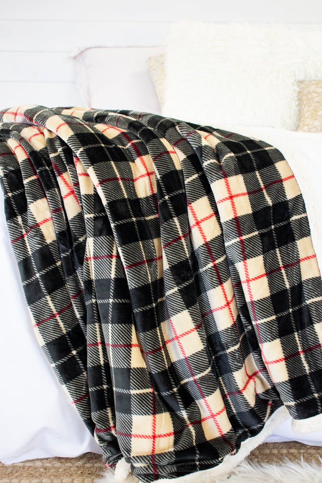Calling Me Home Tan Plaid Sherpa Blanket