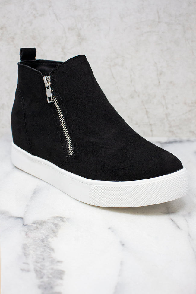 The Danielle Black Suede Wedge Sneakers