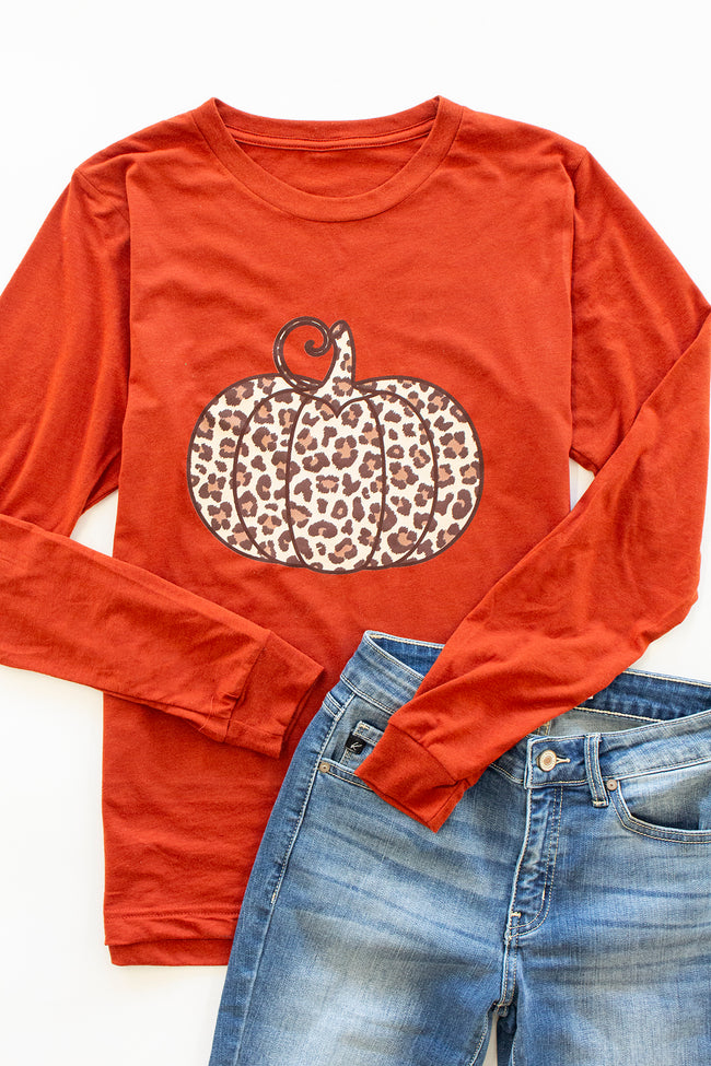 Animal Print Pumpkin Brick Long Sleeve Graphic Tee