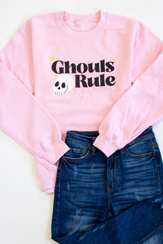 Ghouls Rule Graphic Light Pink Sweatshirt
