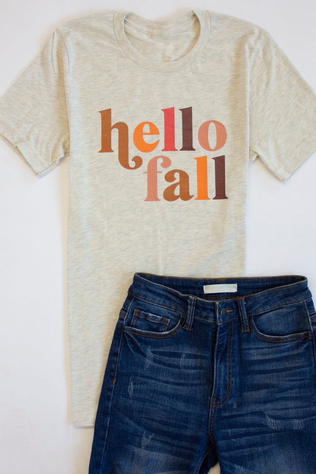 Hello Fall Multicolor Graphic Oatmeal Tee