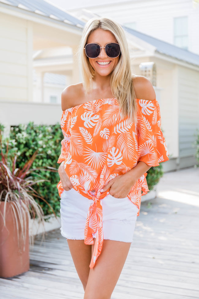 I Can See Forever Orange Printed Blouse