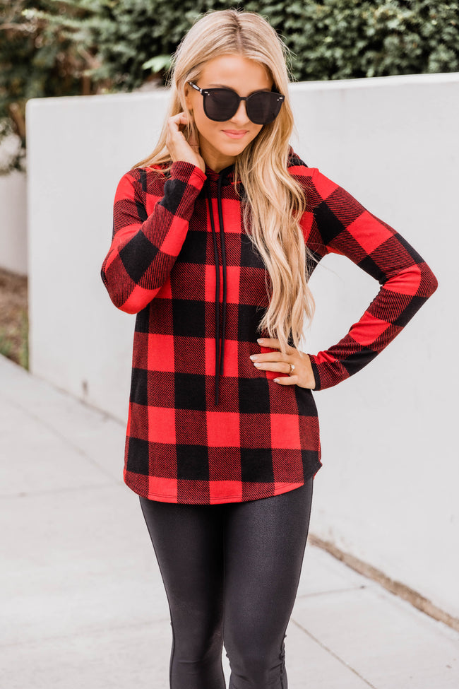 I'm So In Love Red Plaid Hoodie FINAL SALE