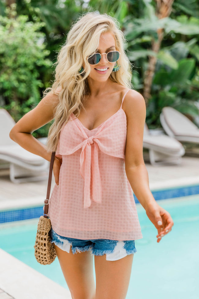If You Just Realize Front Tie Tank Top Peach