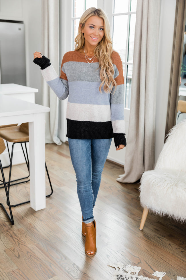 I'm Certain I Love You Brown Colorblock Sweater