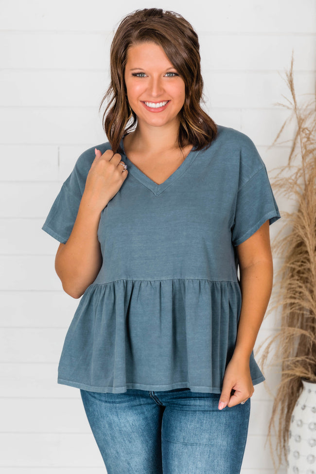In My Own Space Peplum Knit Blouse Slate