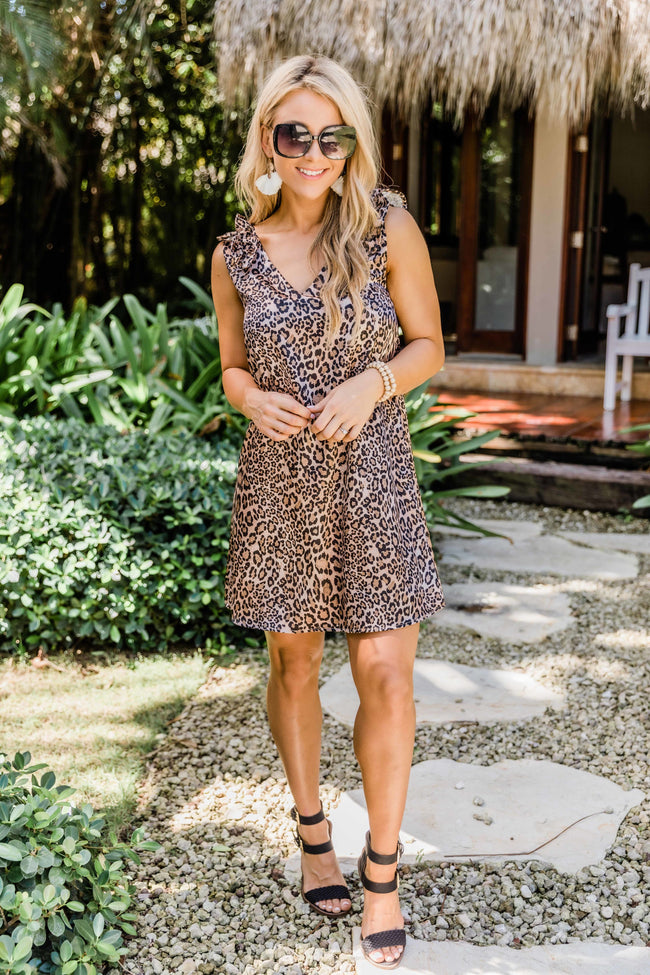 In My Wildest Dreams Brown Animal Print Dress