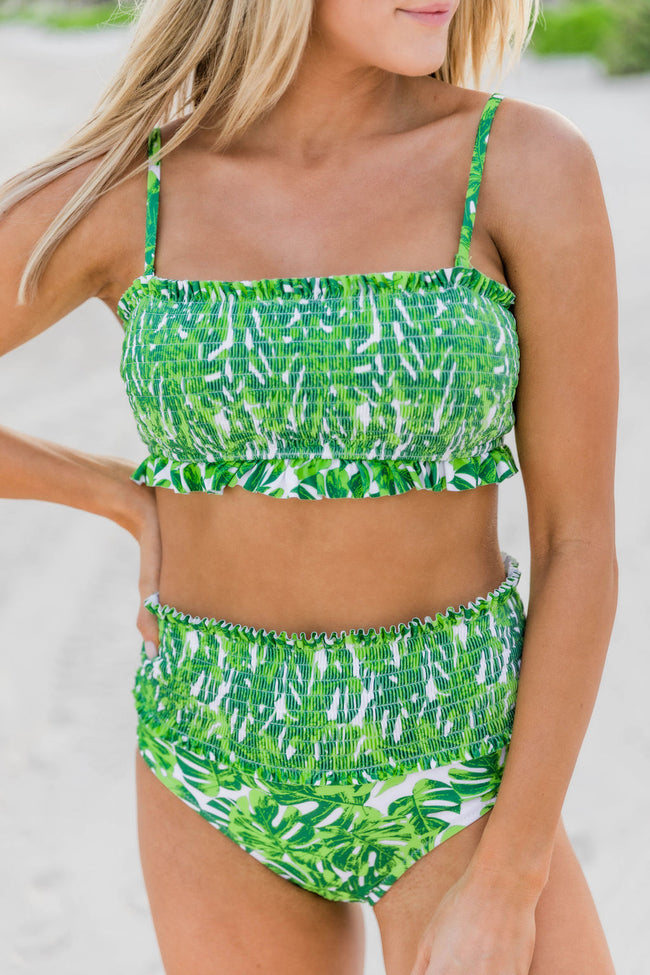 Island Escape Smocked Green Swimsuit Top