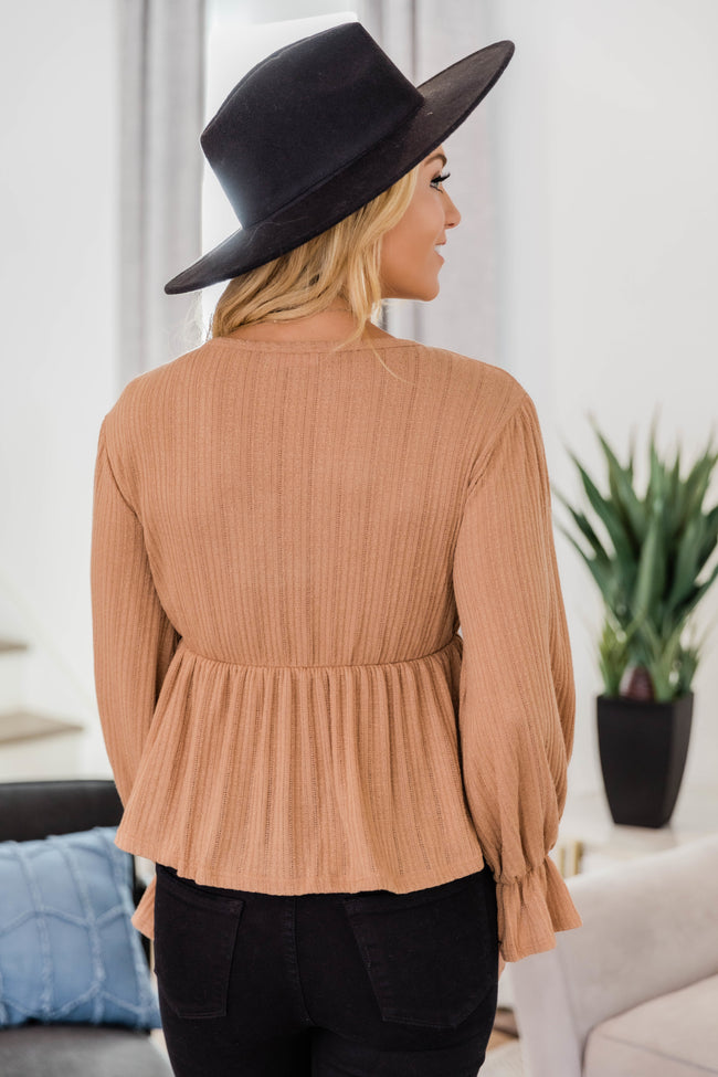 It's All Because Of You Light Brown Blouse CLEARANCE
