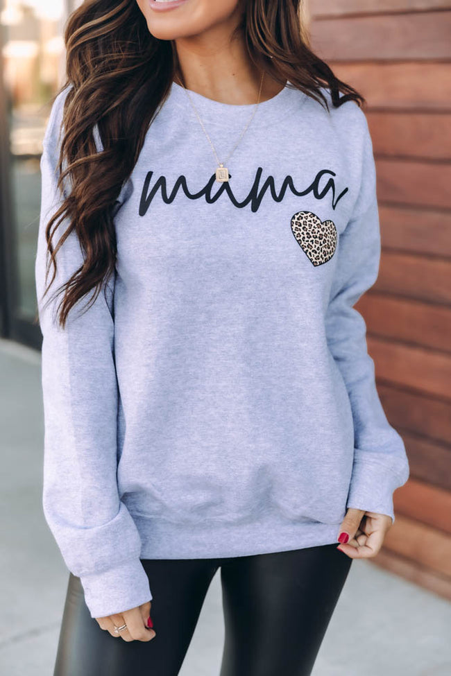 Mama Script Brown Animal Print Grey Graphic Sweatshirt