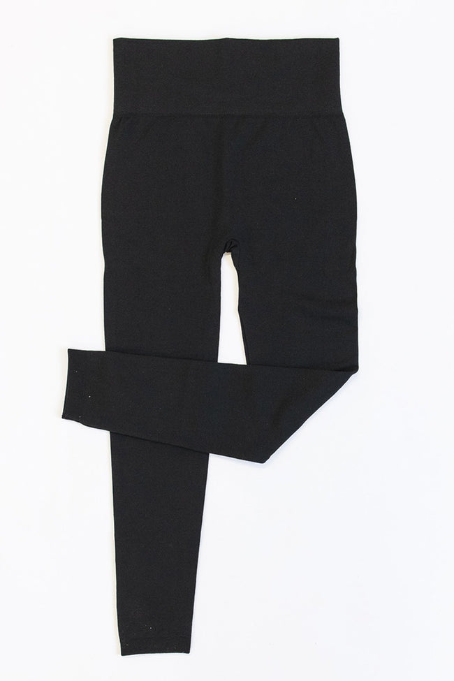 Reminded Of You Fleece Lined Black Leggings