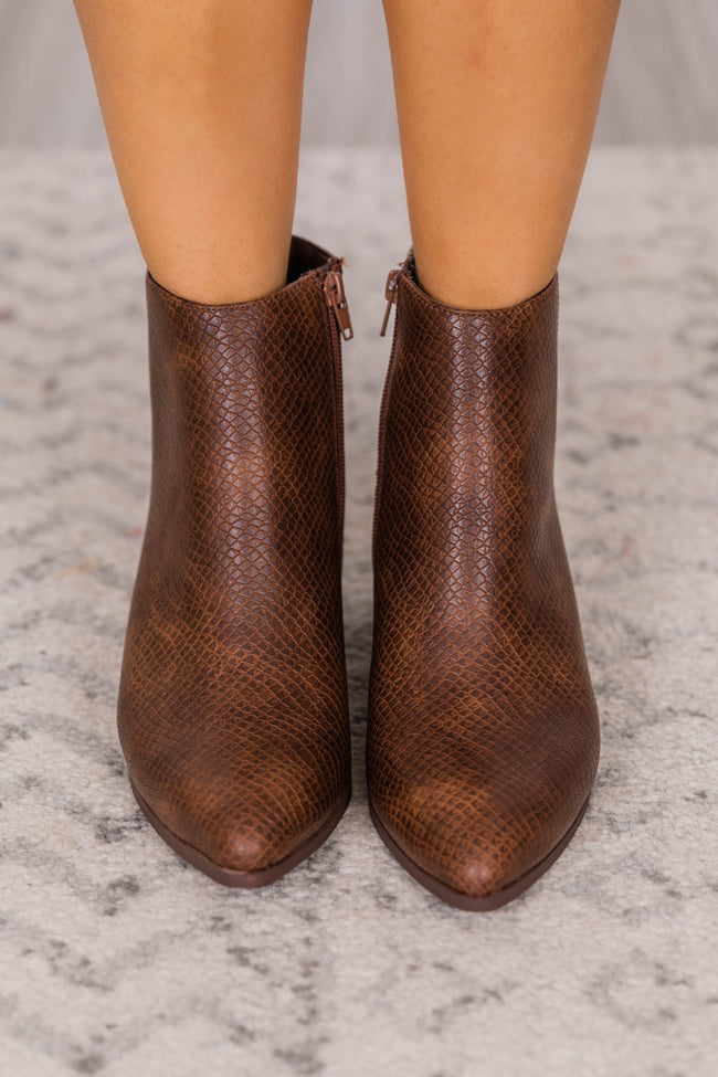 Juno Leather Snakeskin Brown Booties FINAL SALE