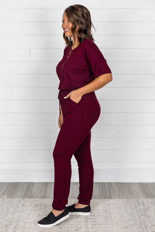 Just Leave It To Me Burgundy Jumpsuit