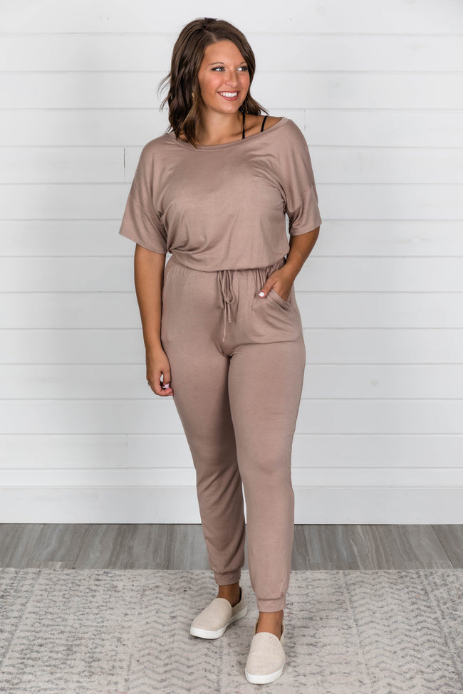 Just Leave It To Me Taupe Jumpsuit