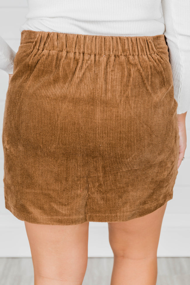 Know All My Secrets Taupe Corduroy Skirt