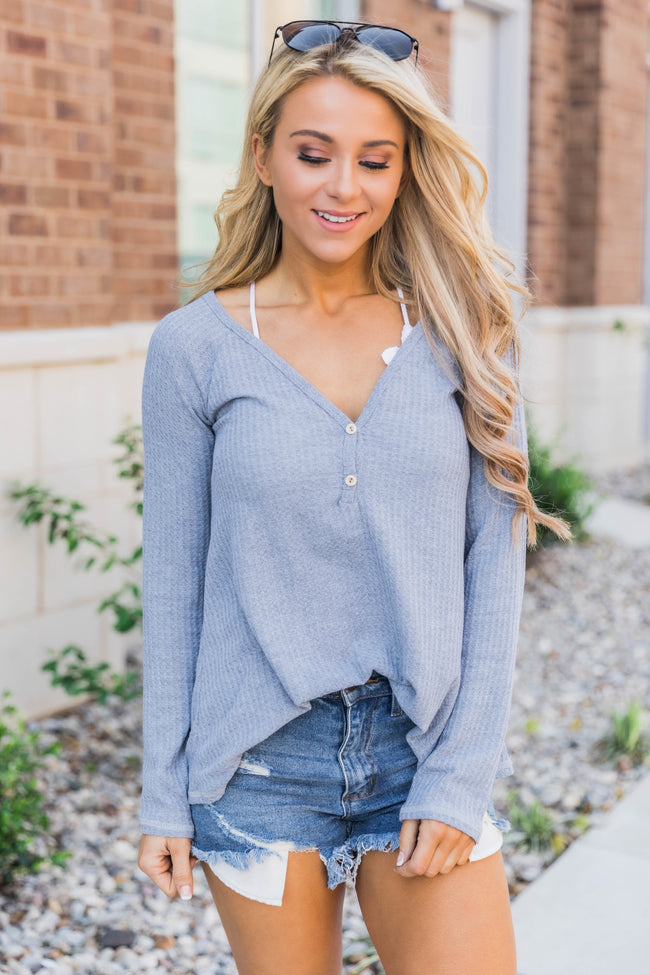 Know Who I Am Heather Grey Blouse