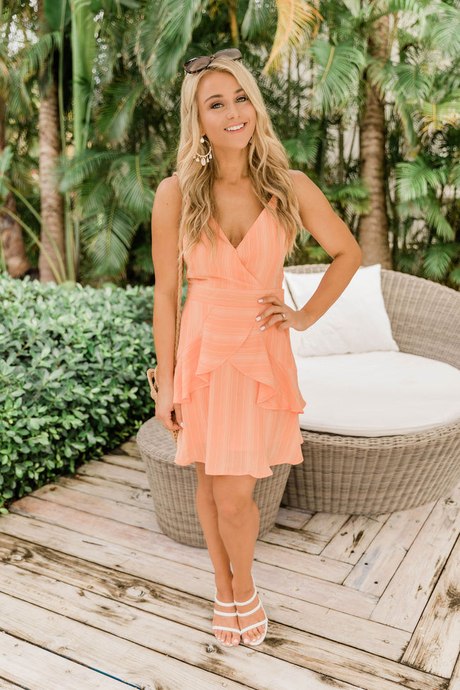 Known For Love Ruffle Detail Dress Orange