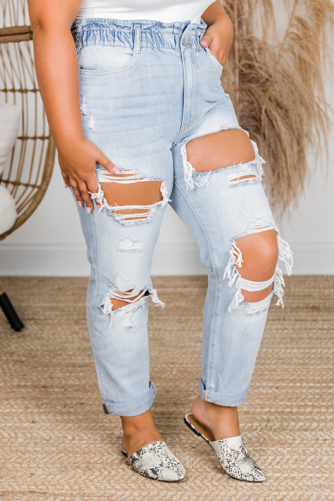 Kristen Paperbag Waist Distressed Mom Jeans