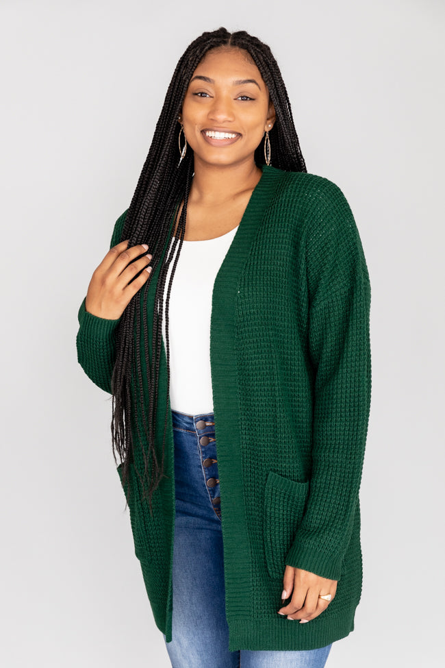 Late Night Walks Green Waffle Knit Cardigan FINAL SALE