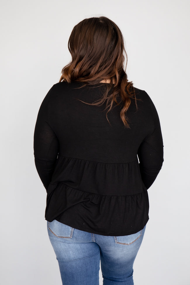 Layered In Tiers Black Blouse