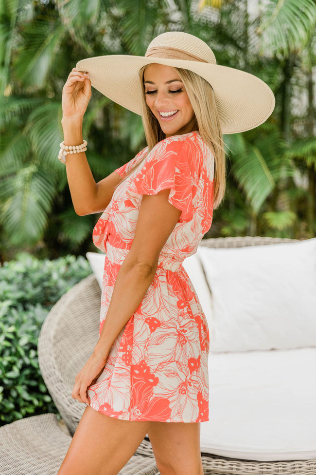 Lead Me To Paradise Tropical Print Romper Coral CLEARANCE