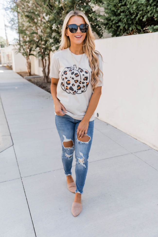 Leopard Pumpkin Graphic Heather Dust Tee