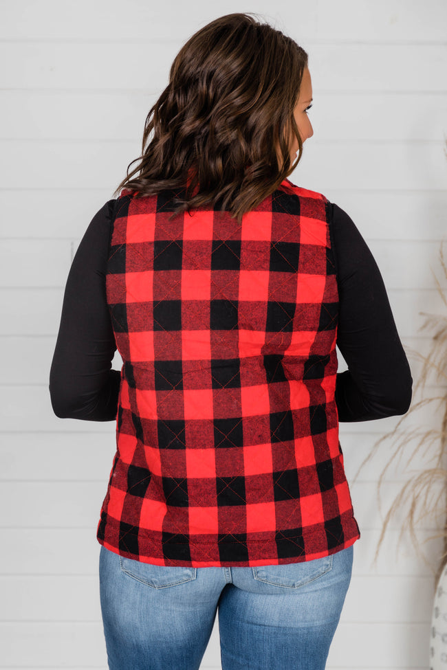 Let's Go Falling In Love Red Plaid Vest FINAL SALE