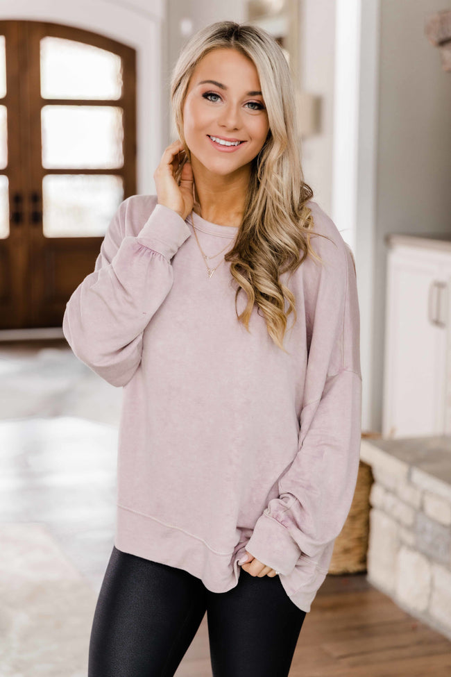Let's See What Happens Dusty Mauve Pullover FINAL SALE