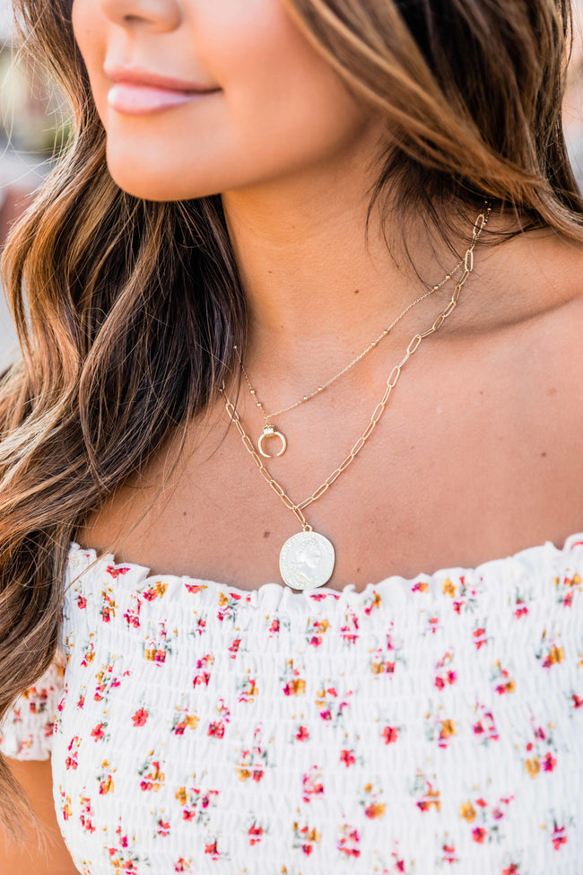 Letting Go Layered Coin Necklace Gold