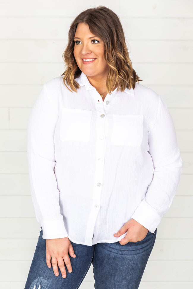 Life's Breezy White Button Front Blouse