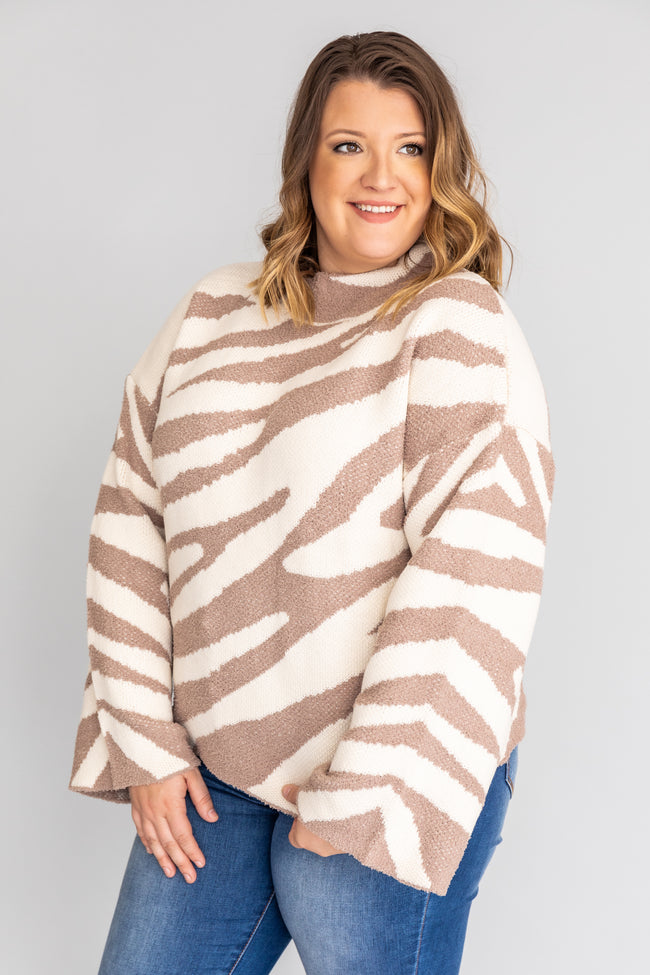 Live In Harmony Animal Print Mocha Sweater