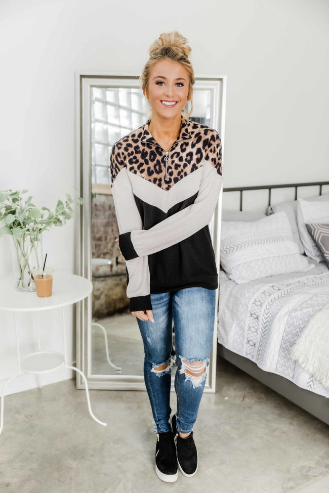 Live A Little Louder Chevron Colorblock Pullover