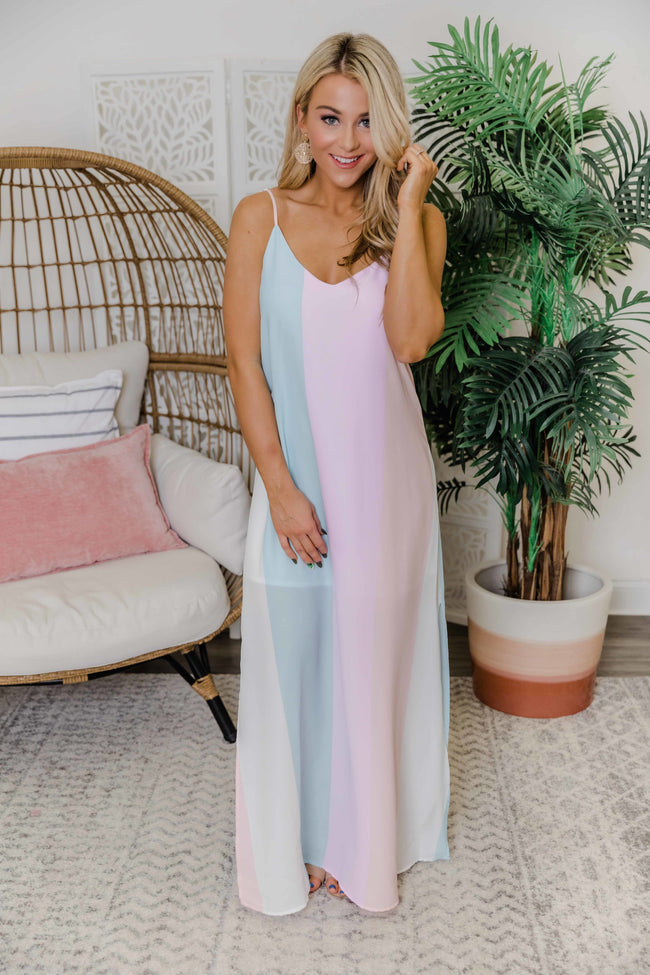 Live Your Dreams Rainbow Striped Maxi Dress