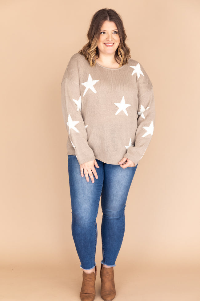 Lost In The Stars Distressed Taupe Sweater