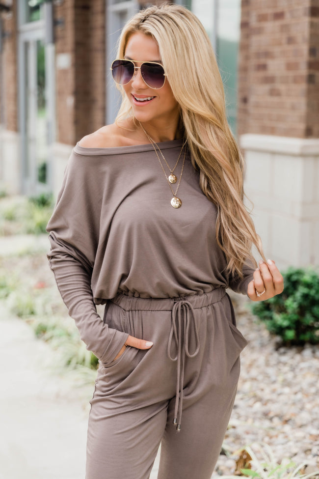 Love Is All Around You Mocha Jumpsuit