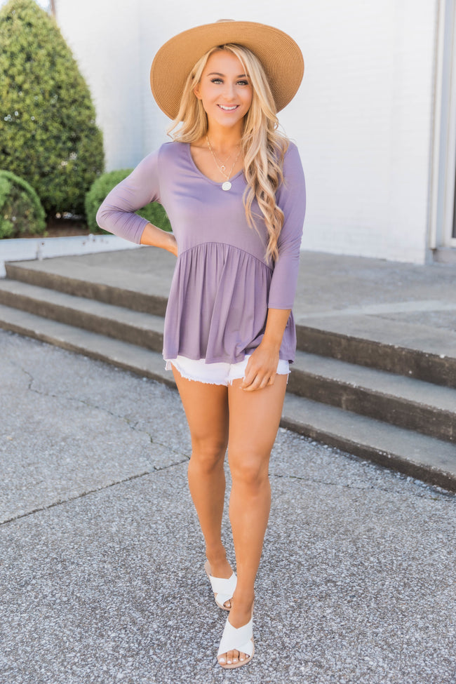 Love Above All Faded Plum Peplum Blouse