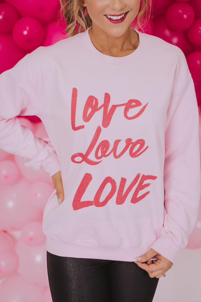 Love Love Love Light Pink Graphic Sweatshirt