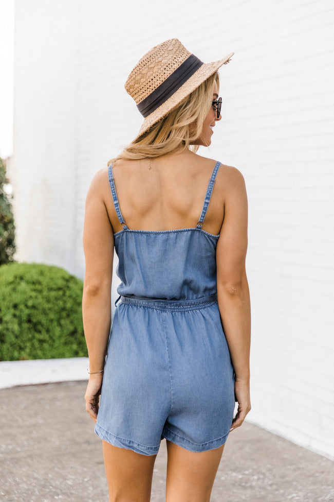 Made My Mind Up Chambray Romper CLEARANCE