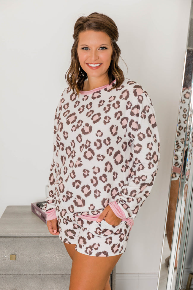 Making My Way Home Animal Print Pullover Pink