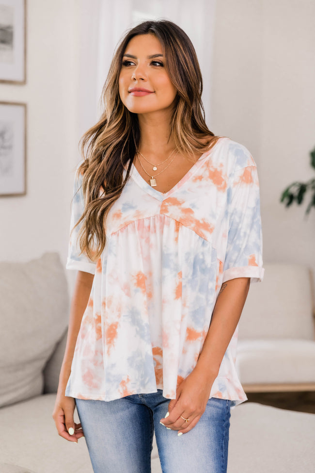 Making My Way Tie Dye Blouse Rust/Denim CLEARANCE
