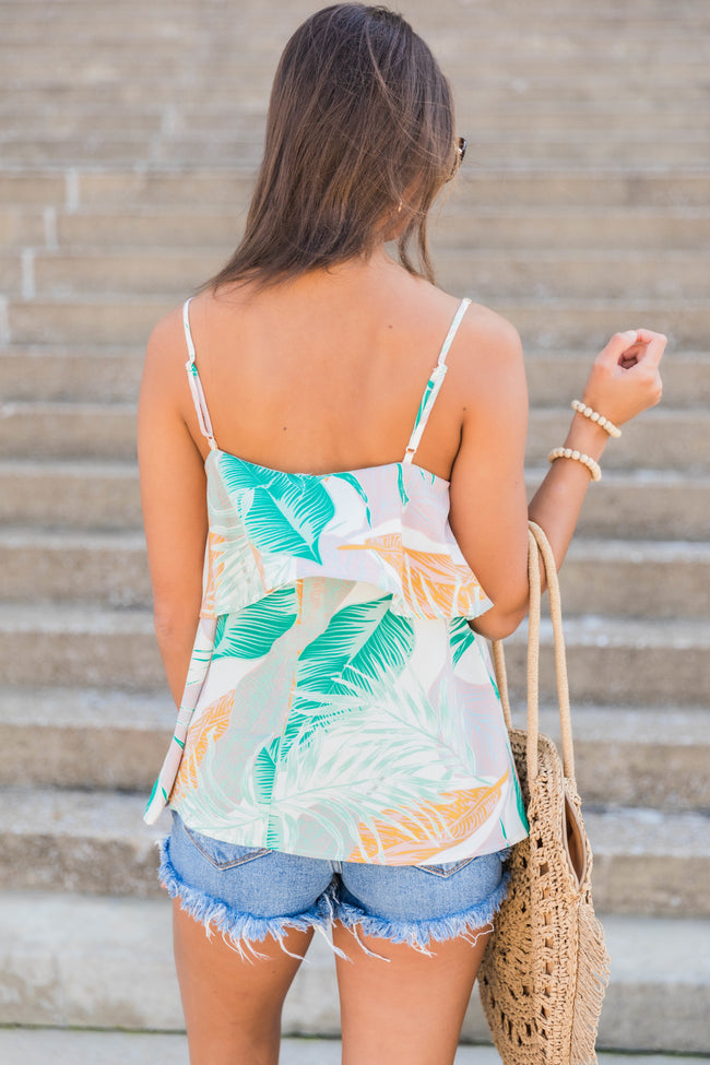 Meet Me By The Beach Printed Tank White