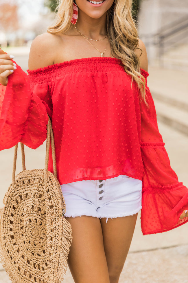 Meet Me For Brunch Red Blouse