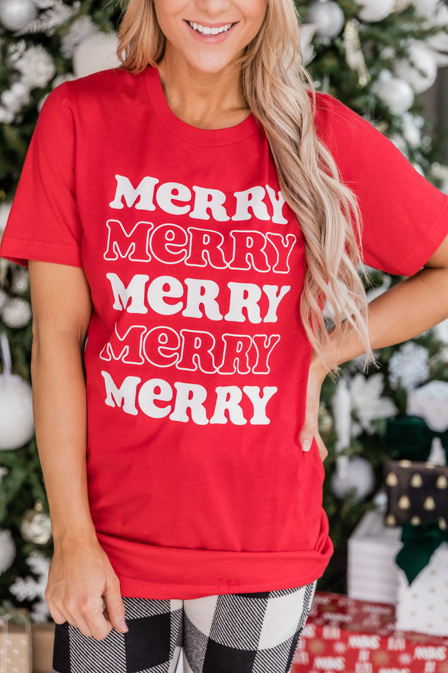 Merry Multi Graphic Red Tee