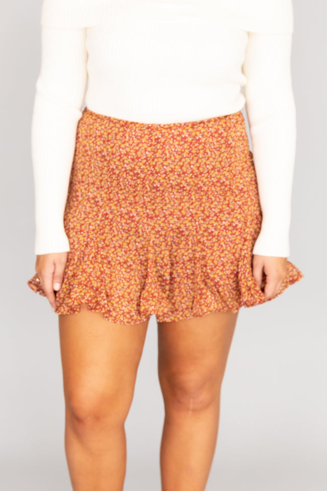 Middle Of A Memory Floral Rust Skirt FINAL SALE