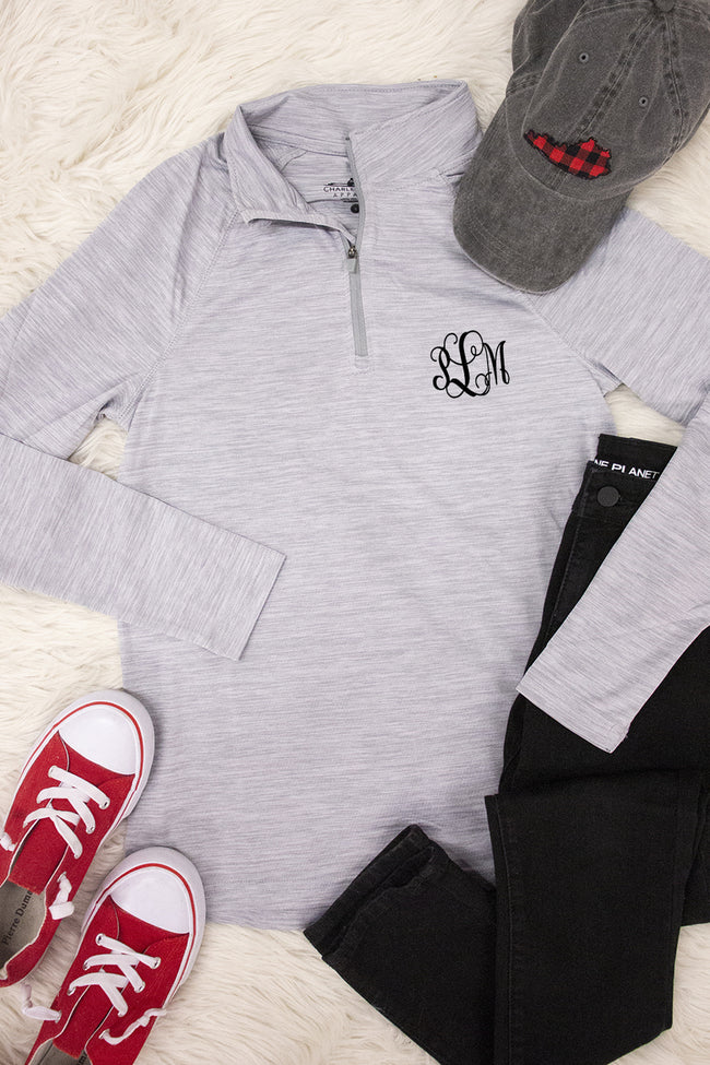 Monogrammed Light Grey Active Pullover